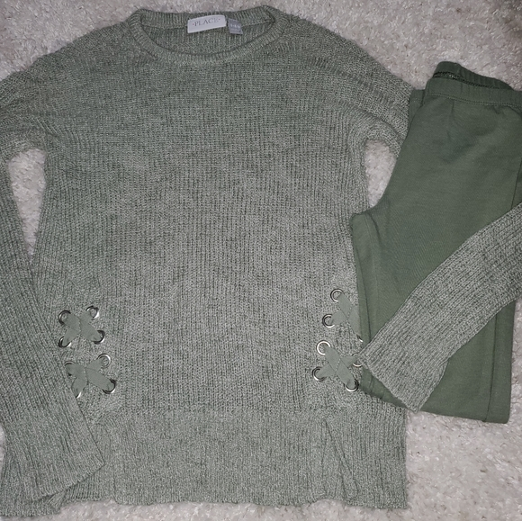 Girls TCP Green Leggings Sweater Outfit 7 8